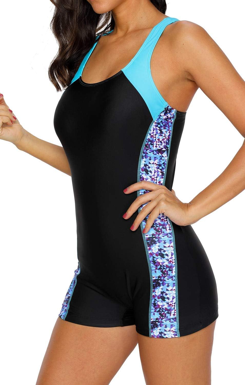 belamo Womens Racerback One Piece Swimsuit Athletic Pro Boyleg Swimwear