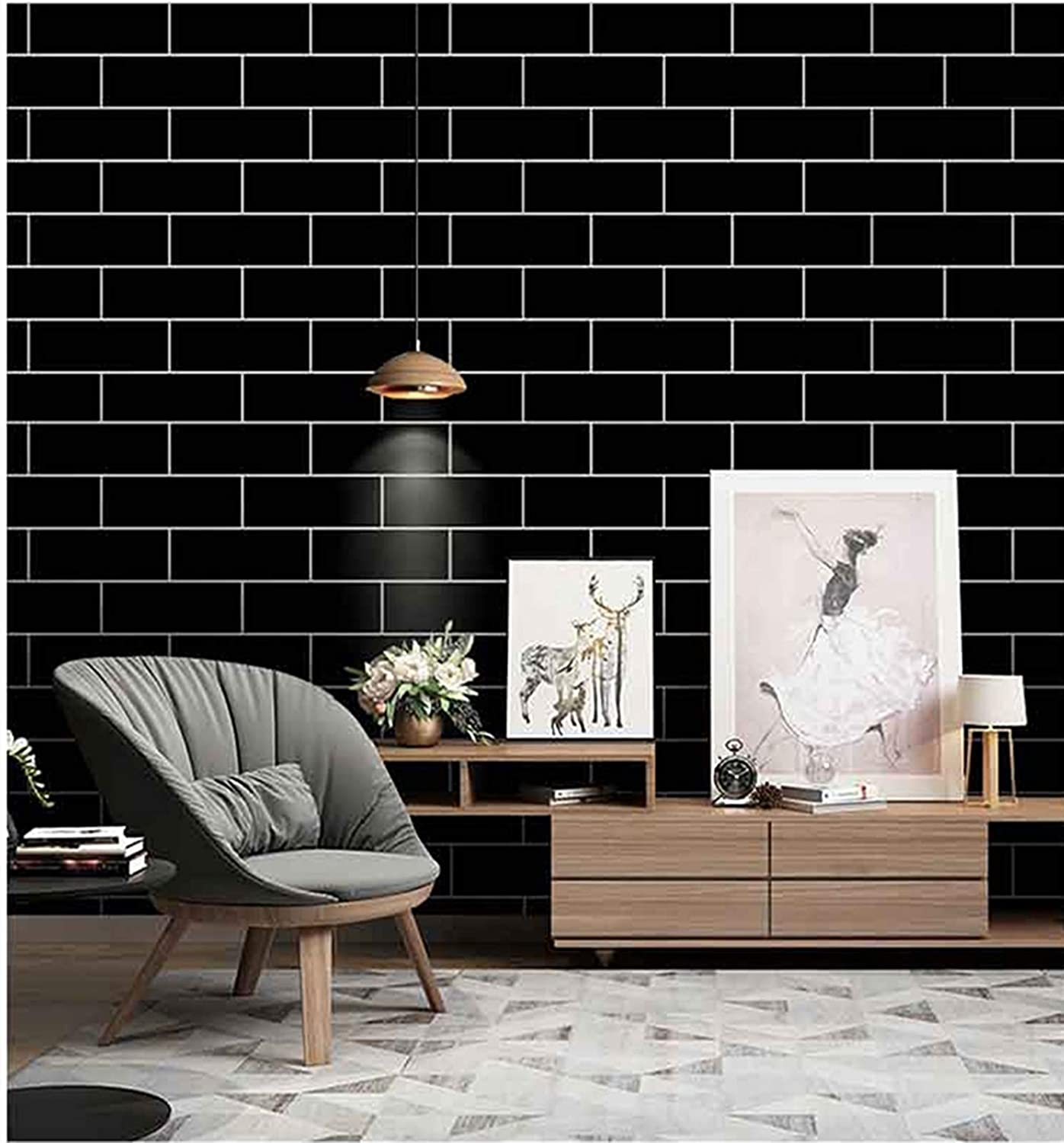 Brick Wallpaper Black Trellis Wallpaper Black Brick Wallpaper Black Subway Wallpaper Tile Black Wallpaper Peel And Stick Wallpaper Self Adhesive On Kitchen Bathroom Removable Wall Covering 17 7 78 7 Amazon Com