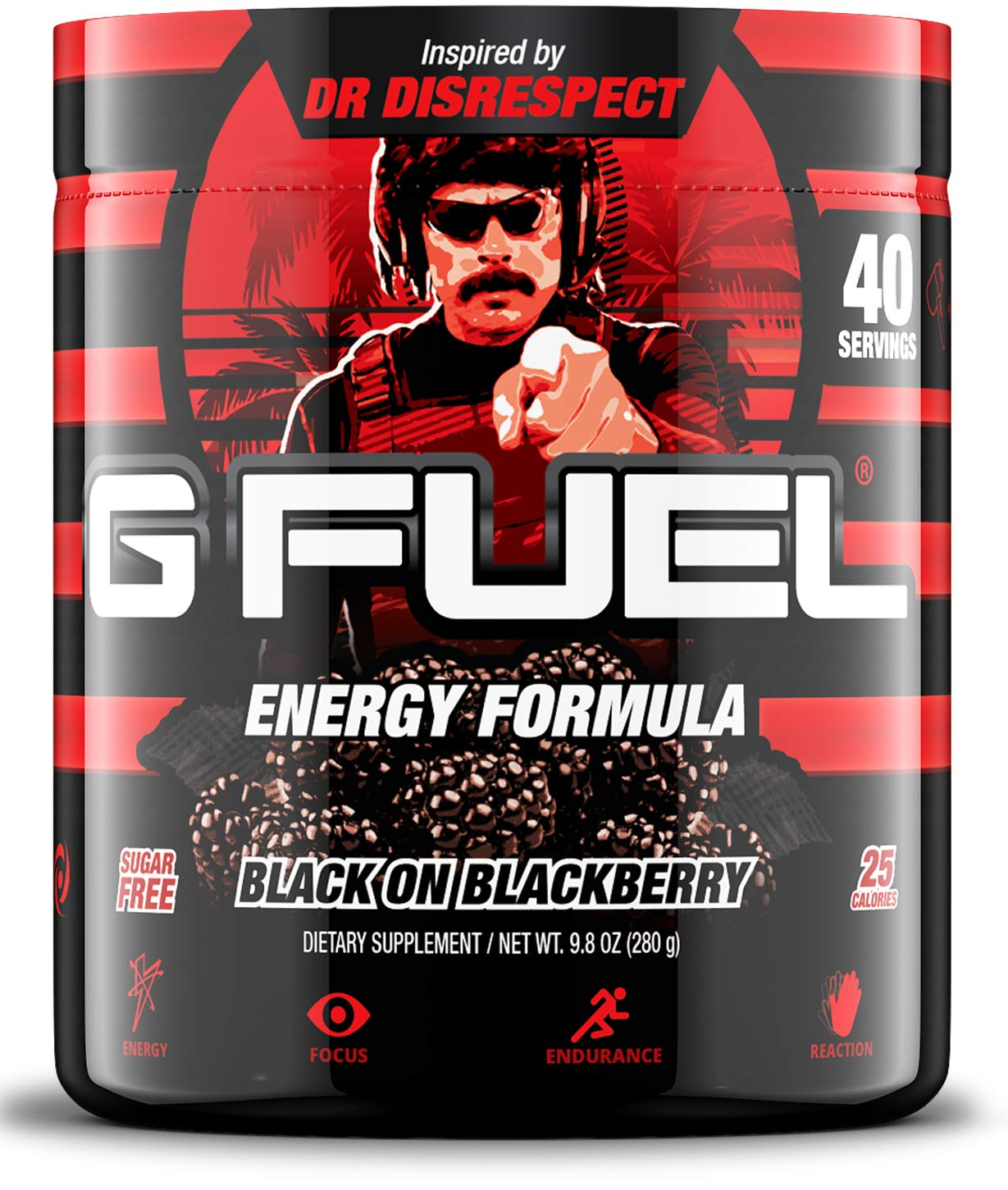 G Fuel Black on BlackBerry Tub (40 Servings) Elite Energy and Endurance Formula Inspired by Dr Disrespect by G Fuel
