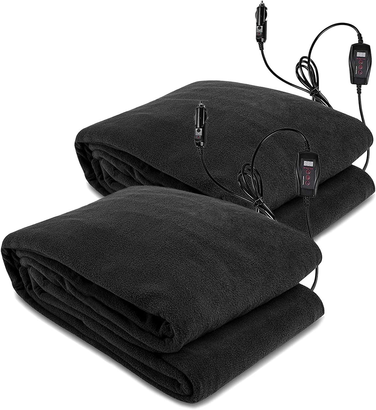 Zento Deals Electric Heated Car 12V Blanket 2 Pack - Polar Fleece Material Blanket - Cold Days and Nights Road Trip, Home and Camping, Safer Nonflammable Wiring and Fabric