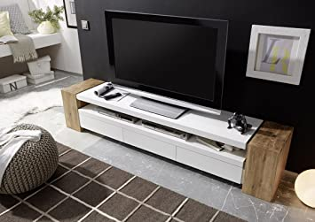 Jule Tv Stand Large And Sturdy Tv Console From Solid Oak With White