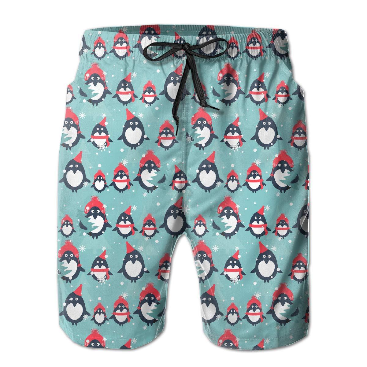 Polyester Penguins,fir Trees,Snow Pattern Beachwear with Pockets Xk7@KU Mens Quick Dry Beach Shorts