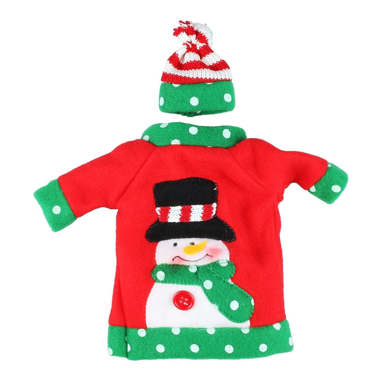 Vlovelife Ugly Pull de Noël Bouteille de Vin Housse Sac avec chapeau, EN Tricot Père Noël Rouge Bouteille de Vin Ensembles Robe pour cadeaux de Noël Décorations de table 4.8'' x 7.2'' Père Noël