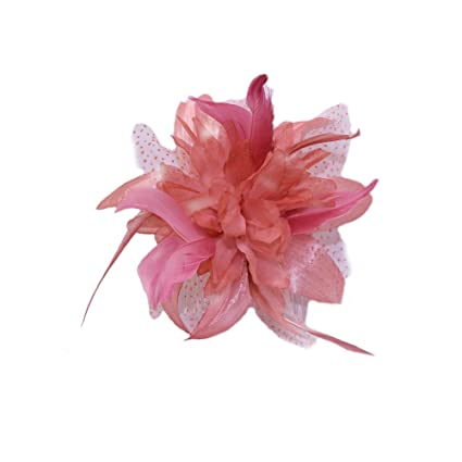 4b0d622393f5d Dusky pink chiffon and feather Fascinator on comb ,Ideal Wedding, Ladies  day,Ascot, Derby.