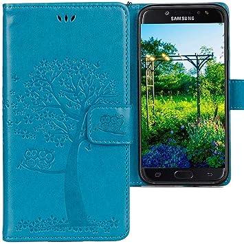 CLM-Tech Funda para Samsung Galaxy J7 2017, Carcasa Cuero sintético, Flip Case con Soporte y Ranuras para Tarjetas, Árbol búho Azul