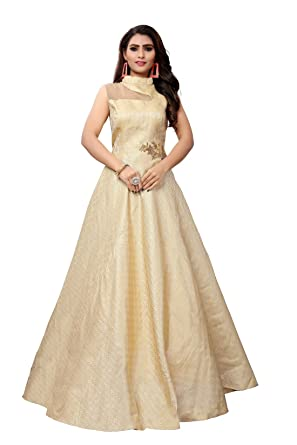 Gunjfashion Women Silk Long Gown Yellow Large Amazonin