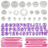 Anpro 76PCS Ustensiles Emportes-Pièces Avec Poussoirs Alphabets Lissages de Gâteau Moules à pâtisserie Pour Décoration de gâteau