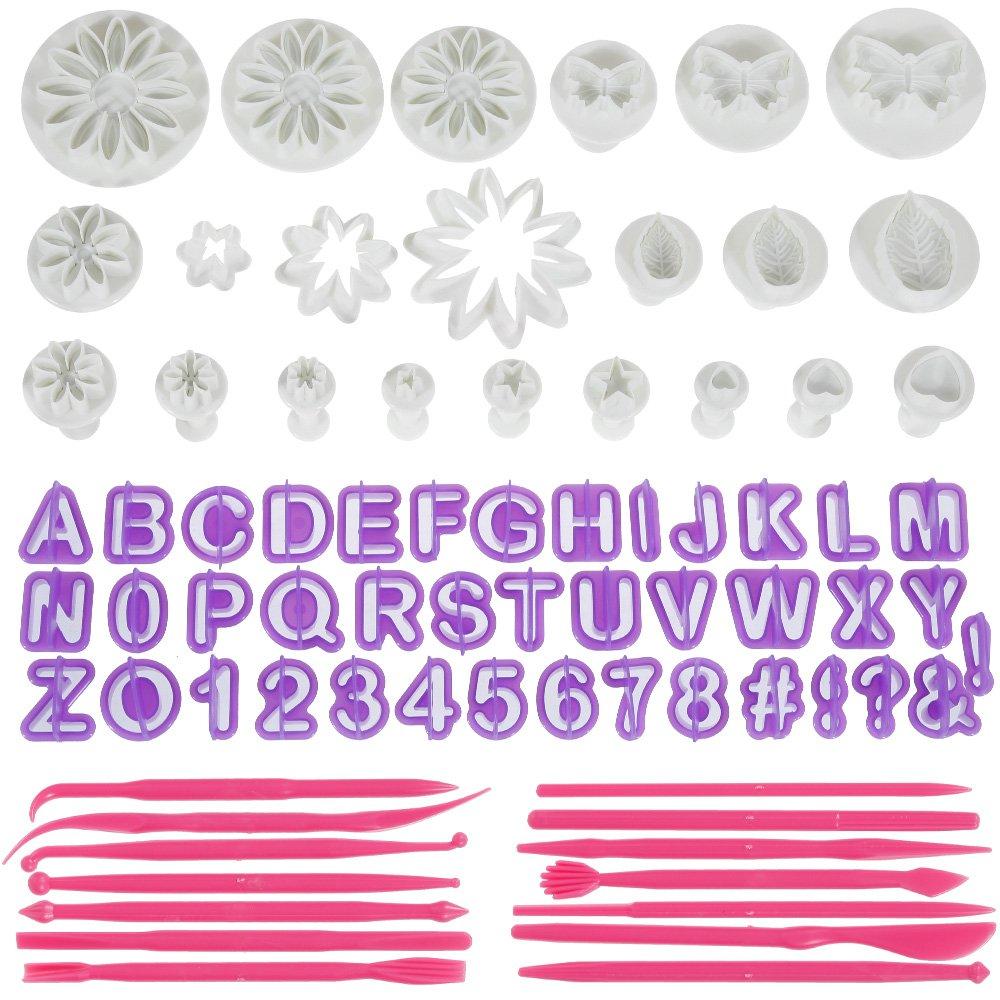 Anpro 76PCS Ustensiles Emportes-Pi/èces Poussoirs Alphabets Lissages de G/âteau Moules /à p/âtisserie D/écoration de g/âteau