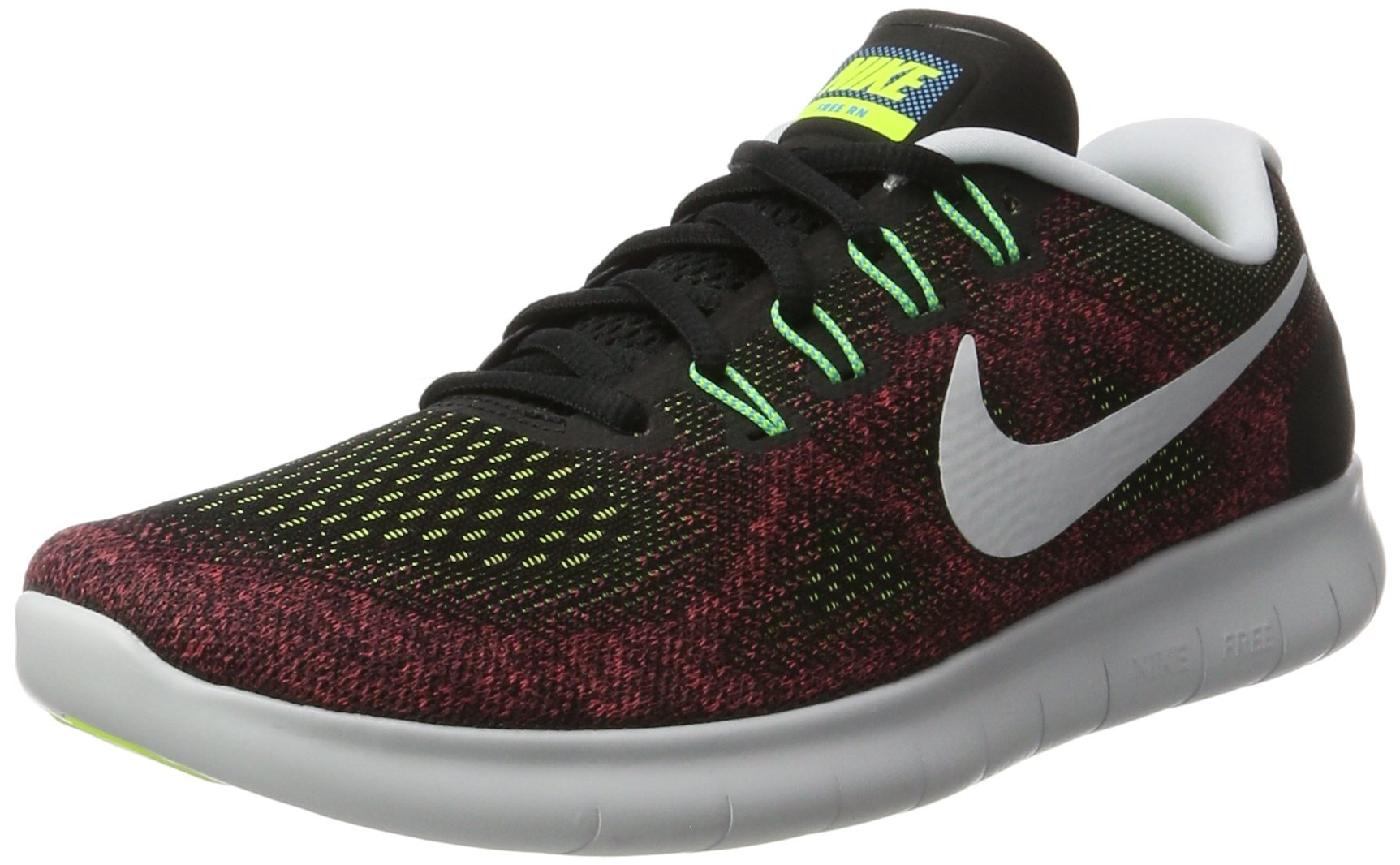 Nike Men's Free RN 2017, BLACK/BLACK-HOT PUNCH, 7 M US