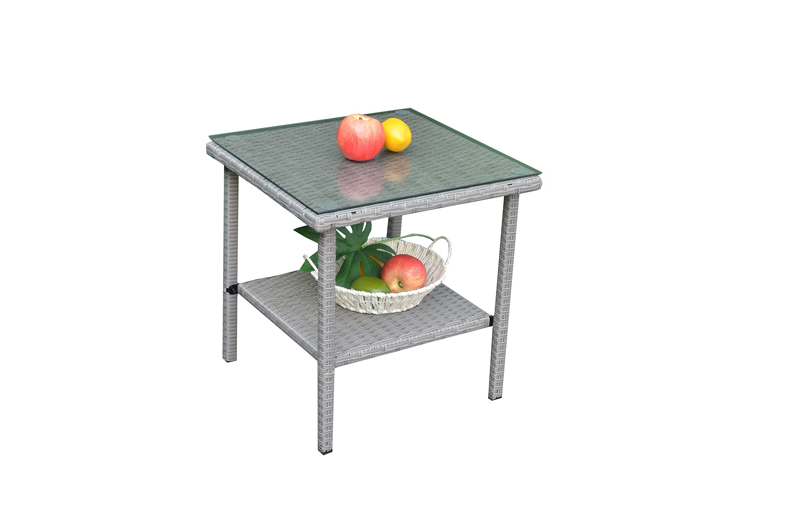 JETIME Patio Furniture Wicker Rattan Outdoor Coffee Side Table with Tempered Glass Top Indoor Garden Bistro Table (Silver)