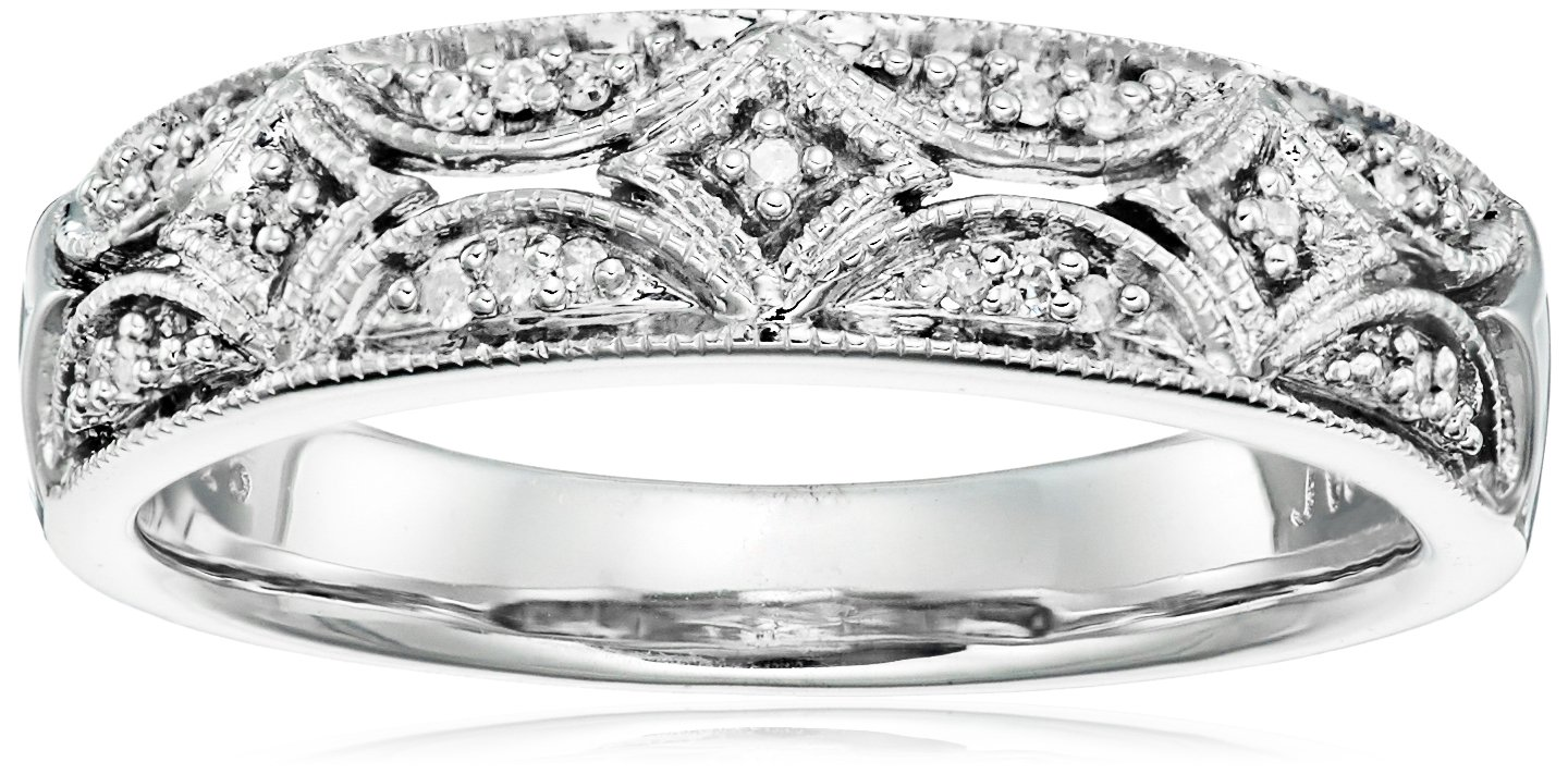 Sterling Silver Diamond Accent Band Ring, Size 8 by Amazon Collection