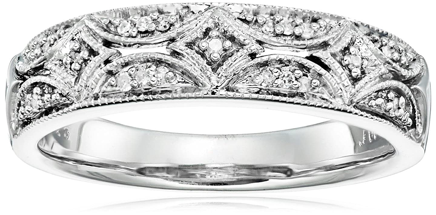 Sterling Silver Diamond Band Ring (1/20 cttw, I-J Color, I2-I3 Clarity) Amazon Curated Collection 83800/STGSIL/J1-Parent