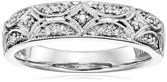 Review Sterling Silver Diamond Band Ring (1/20 cttw, I-J Color, I2-I3 Clarity)