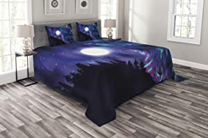 Ambesonne Moon Bedspread, Northern Imagery with Aurora Borealis Wolf Spirit Forest Starry Night, Decorative Quilted 3 Piece Coverlet Set with 2 Pillow Shams, Queen Size, Magenta Indigo