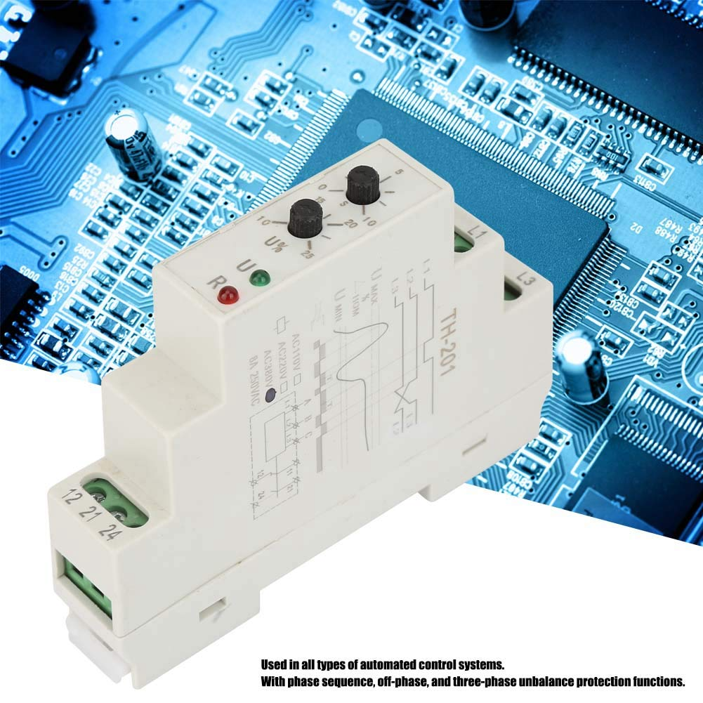 Phase Sequence, 380V TH-201 Power Protection Relay Three Phase Sequence Control Relays Voltage Monitor by Huairdum (Image #5)