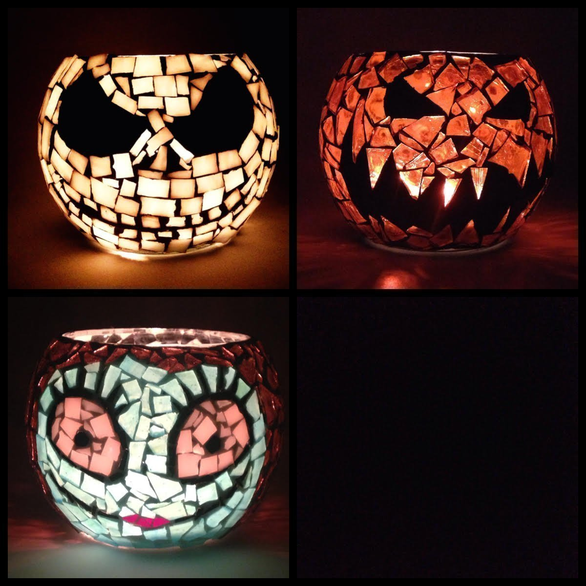 3 Mosaic Candle Holders, 3.5 Inch Votive, Skeleton Jack, Pumpkin Jack O lantern and Lady. Handcrafted Mosaic candle holders