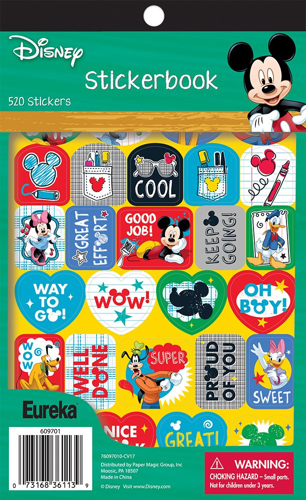 Eureka Back to School Mickey Mouse Stickers for Kids and Teachers, 410 Stickers in 1 Sticker Book, 5.8'' x 9.5''