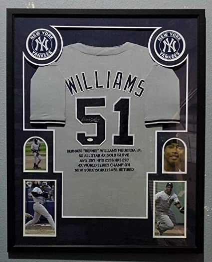 check out 772fe 19e8d Bernie Williams Autographed Jersey - Stats Framed - JSA ...