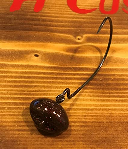 5pk 1//4oz Black Stand Up Roundball Shakey Head Powder Coated 5//0 Hook