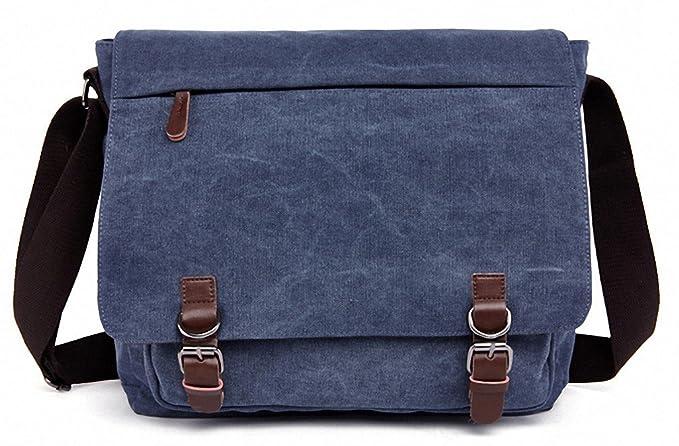 Kenox Vintage Canvas maletín portátil Messenger Bag bolso de escuela 16 pulgadas