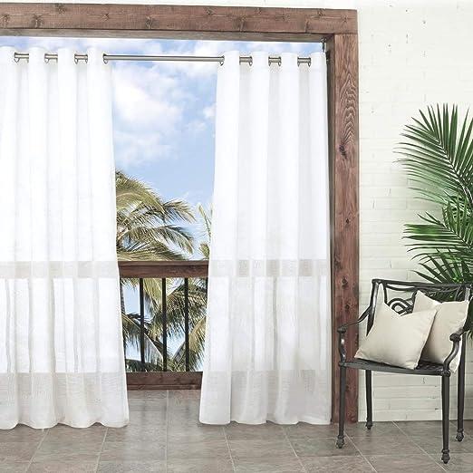 1pc 108 cortina de color blanco cenador panel único, pergola al aire libre cortinas porche cubierta cabana patio pantalla entrada sol lanai sólido, color blanco sólido patrón de colores rugby exterior: Amazon.es:
