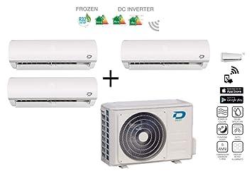 Diloc Frozen Aire Acondicionado MultiSplit Climatizador Inverter Trial Gas R32 Compresor Sharp D.FROZEN360 9000 + 9000 + 9000 Btu (9+9+9) D.FROZEN9 x 3: ...