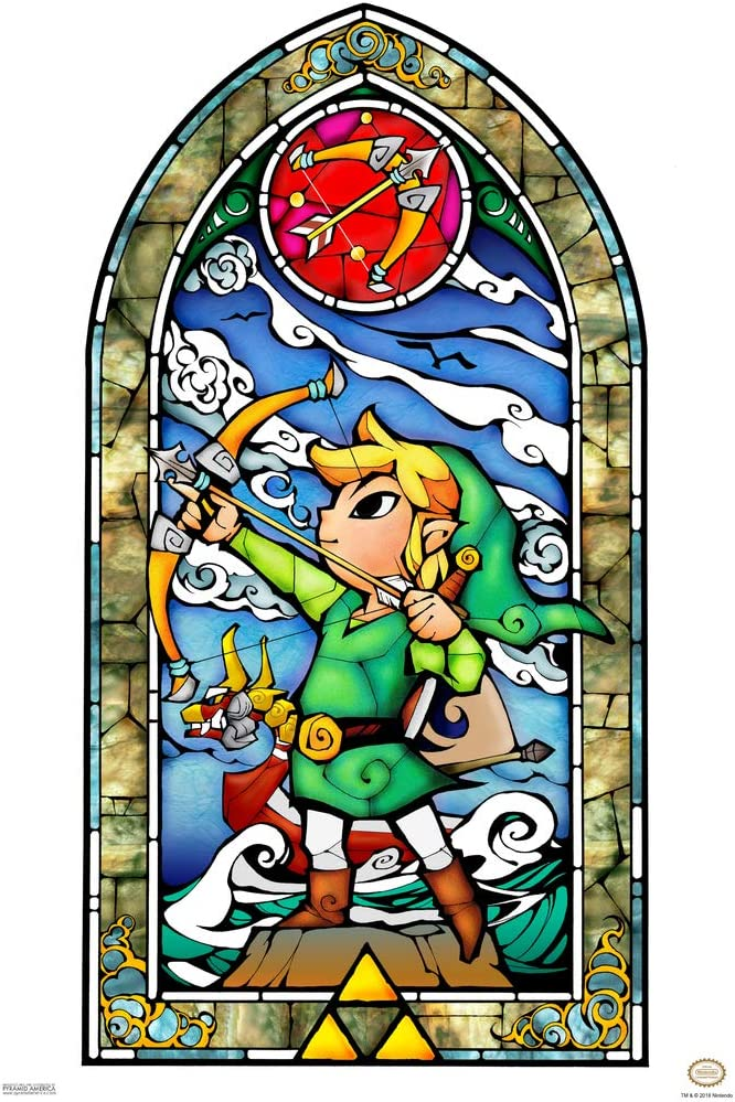 Pyramid America Legend of Zelda Stained Glass Bow Video Game Gaming Cool Wall Decor Art Print Poster 12x18