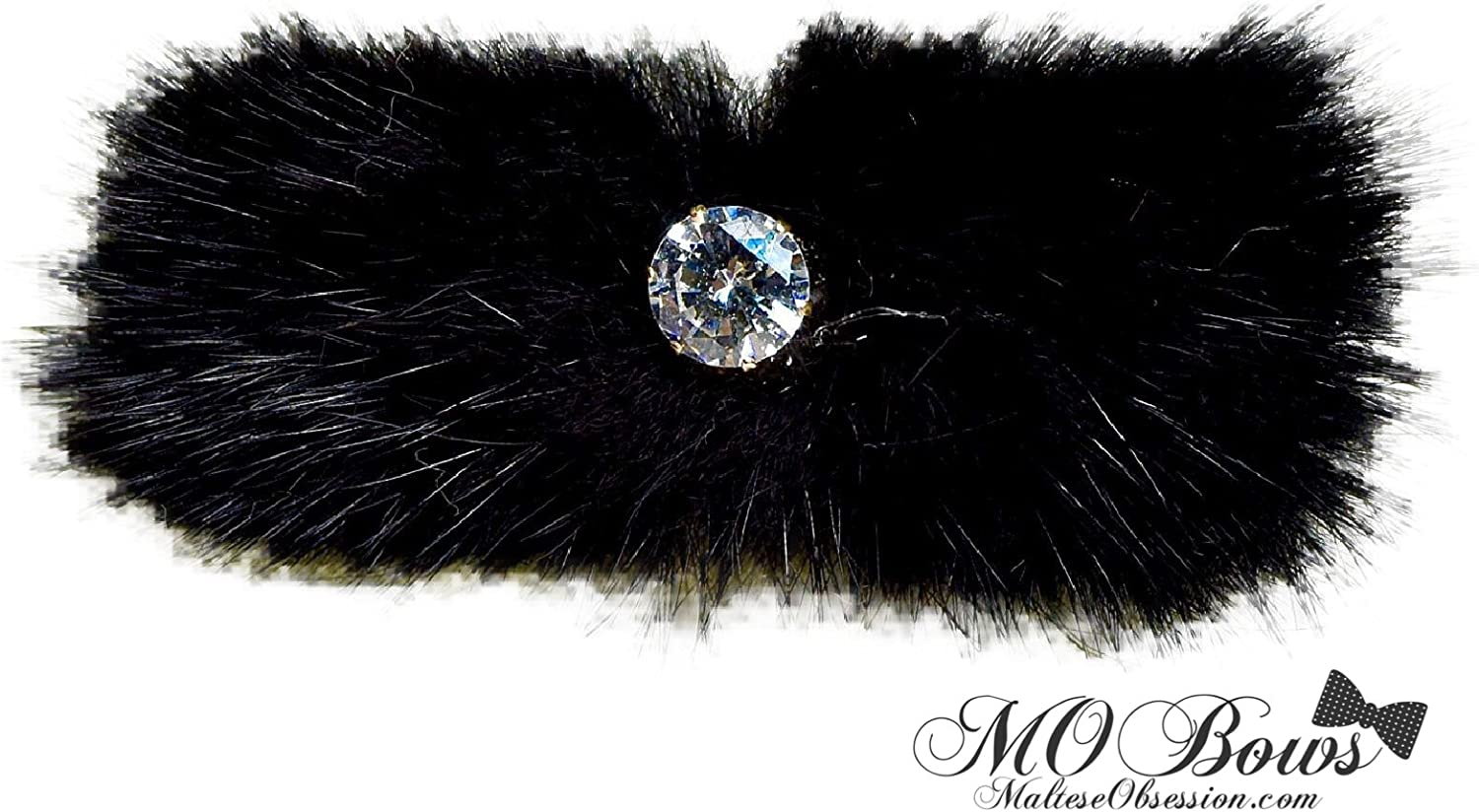 Black Mink and Crystal Fur Hair Clip for Maltese Dog Puppy Mink Fur and Crystal Rhinestone Hair Bling
