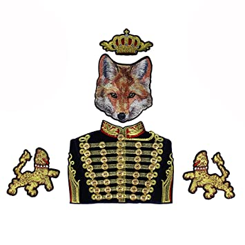 1Set Perlen Gold Button Royal Krone Duke Fox Löwe Stoff Patches ...