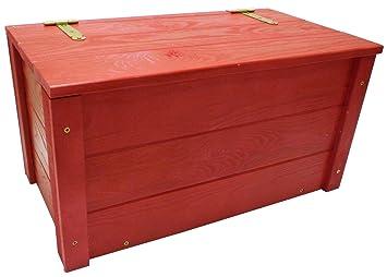 Baule in legno rosso panchetta contenitore cassapanca con ...