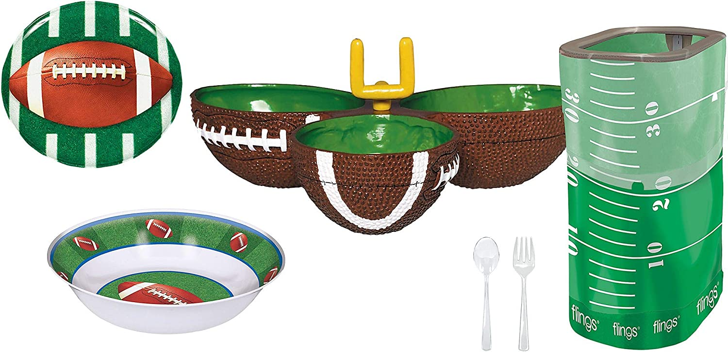 Party City Football Serveware Party Kit, Football Party Supplies, Cardstock, Includes Party Platter