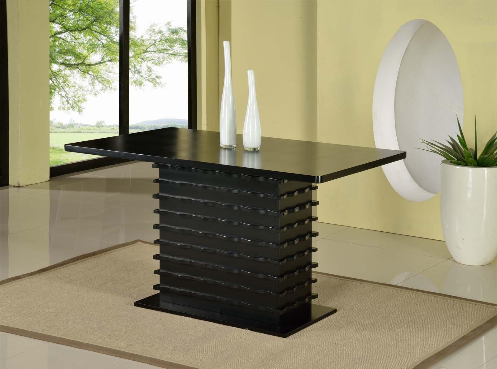 King's Brand Black Finish Wood Wave Design Dining Room Kitchen Table