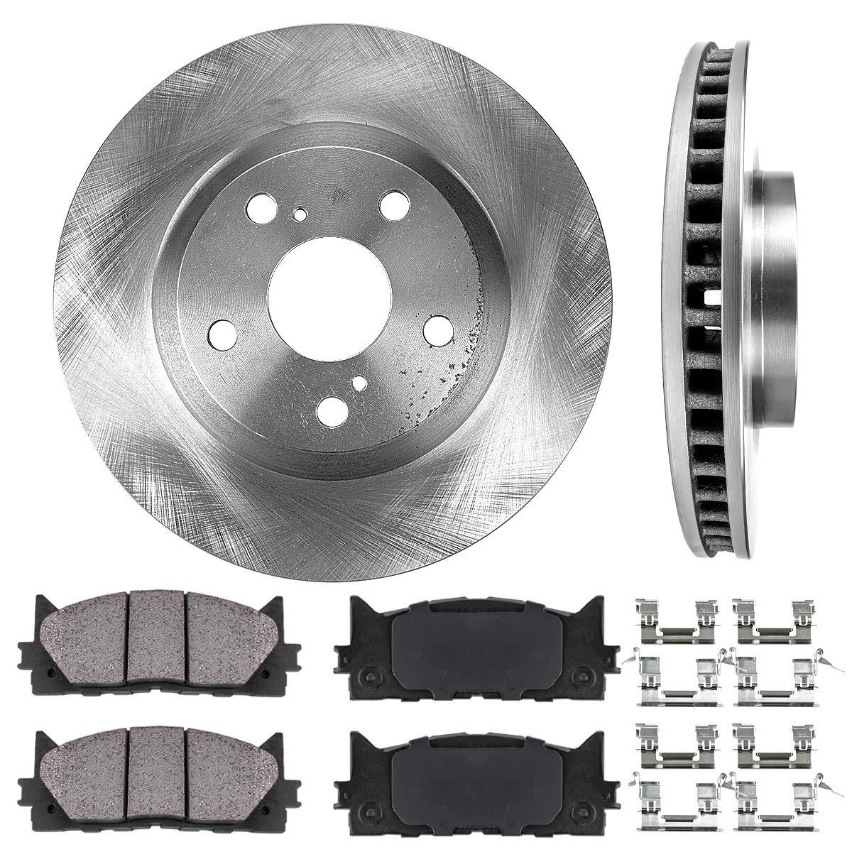 FRONT 296 mm Premium OE 5 Lug [2] Brake Disc Rotors + [4] Ceramic Brake Pads + Hardware Callahan Brake Parts