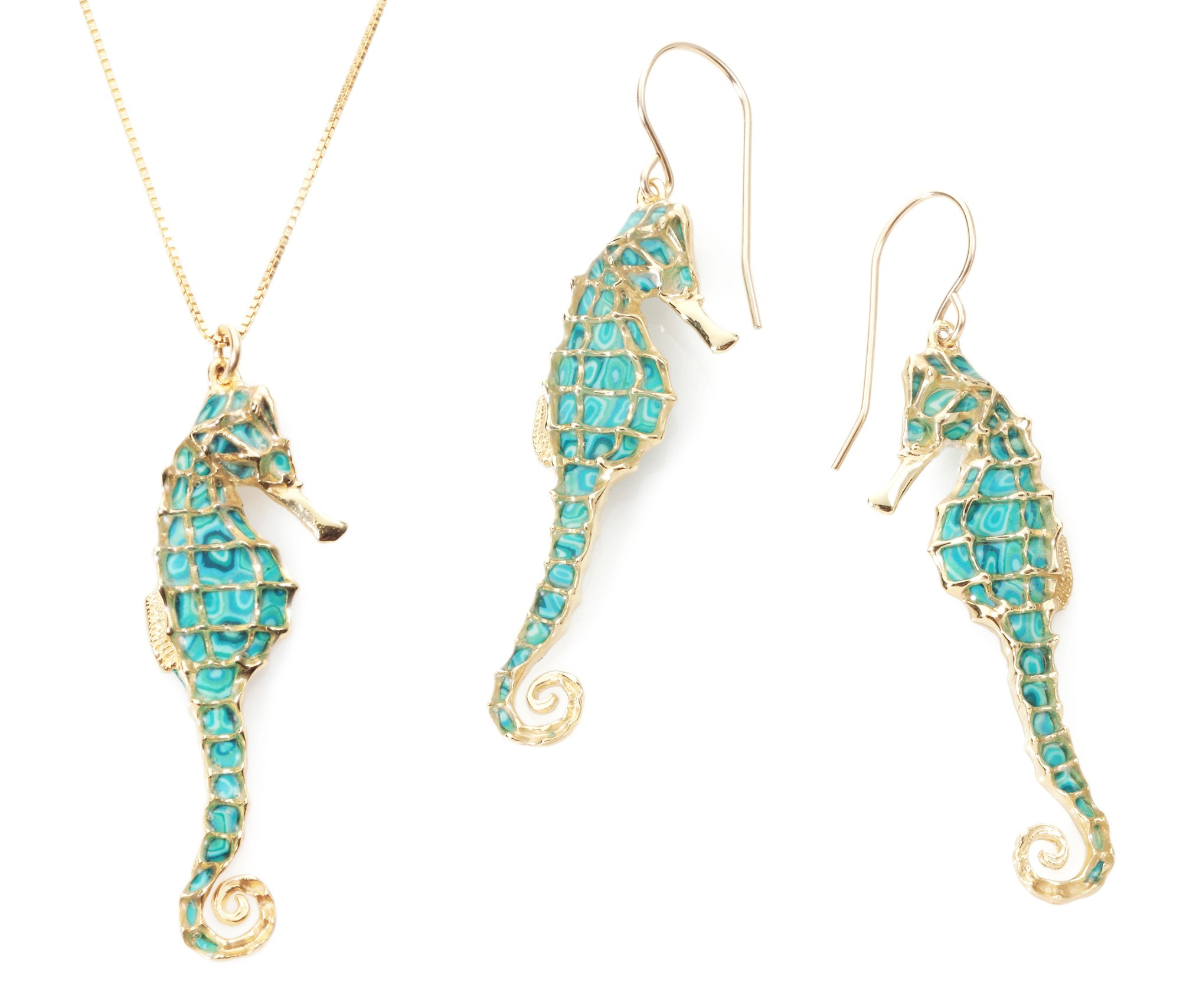 Gold Plated Sterling Silver Seahorse Necklace Pendant and Earrings Sea Green Polymer Clay Handmade Jewelry Set, 16.5'' Gold filled Chain