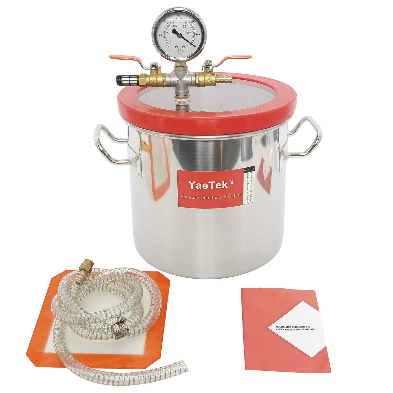 YAETEK 2 Gallon Stainless Steel Vacuum Chamber kit for Degass Urethanes Silicones Epoxies and Resins by YAETEK