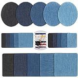HO2NLE 21Pcs ParchesTermoadhesivosVaqueros Parches Jeans Patch Stickers Ropa Con El Kit de Reparación de La Tela Para Los Pantalones Vaqueros Reparación Artesanía Diy 5Colores