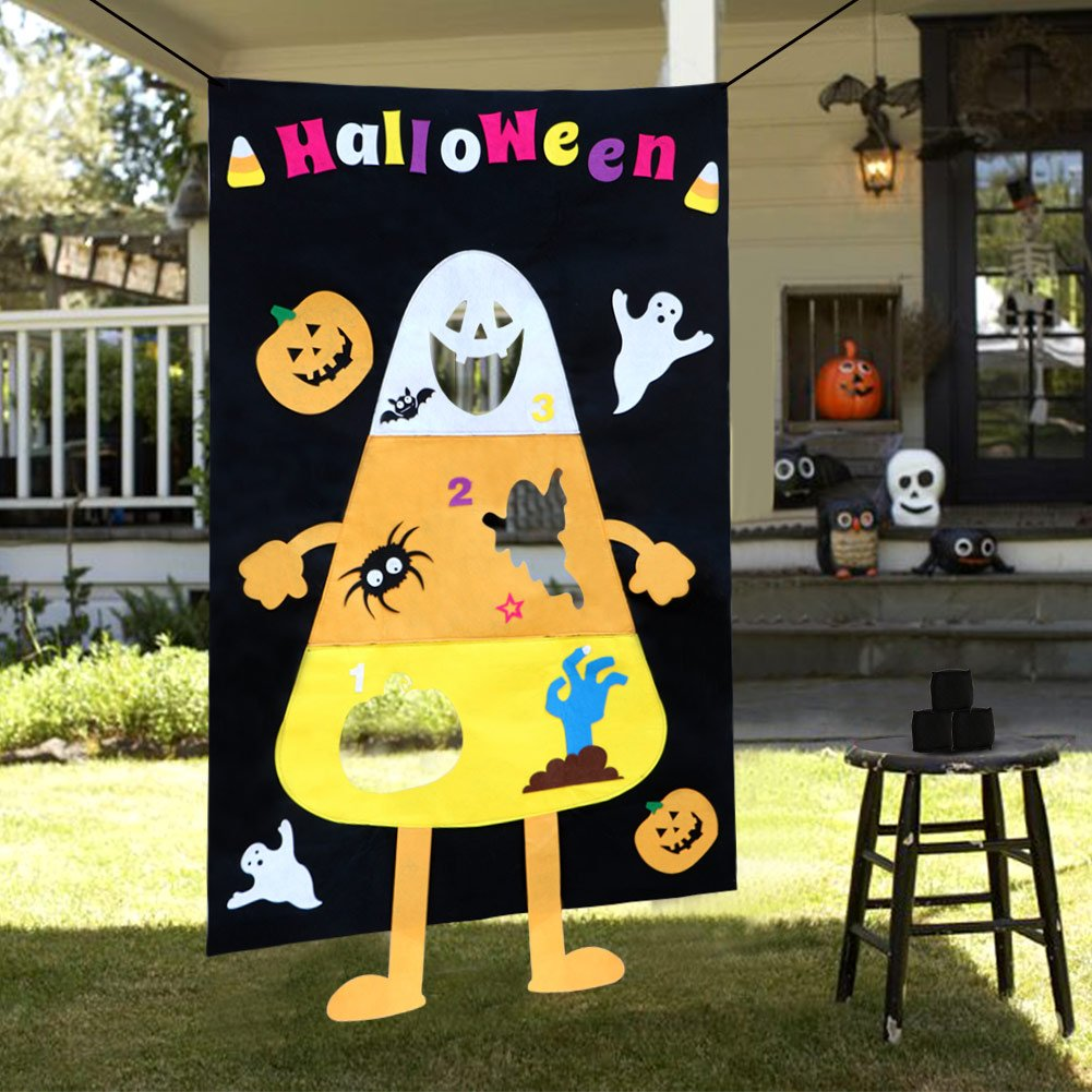 OurWarm Candy Corn Bean Bag Toss Game with 3 Bean Bags for Kids Birthday Party Halloween Decorations, Felt Corn Bean Bag Game