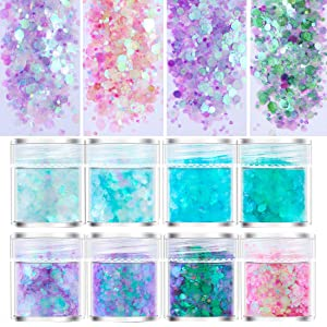 8 Boxes Mixed Chunky Nail Glitter Sequins Holographic Sparkle Purple Pink Iridescent Flakes for Nail Art, Body Face Hair Makeup, Artcraft