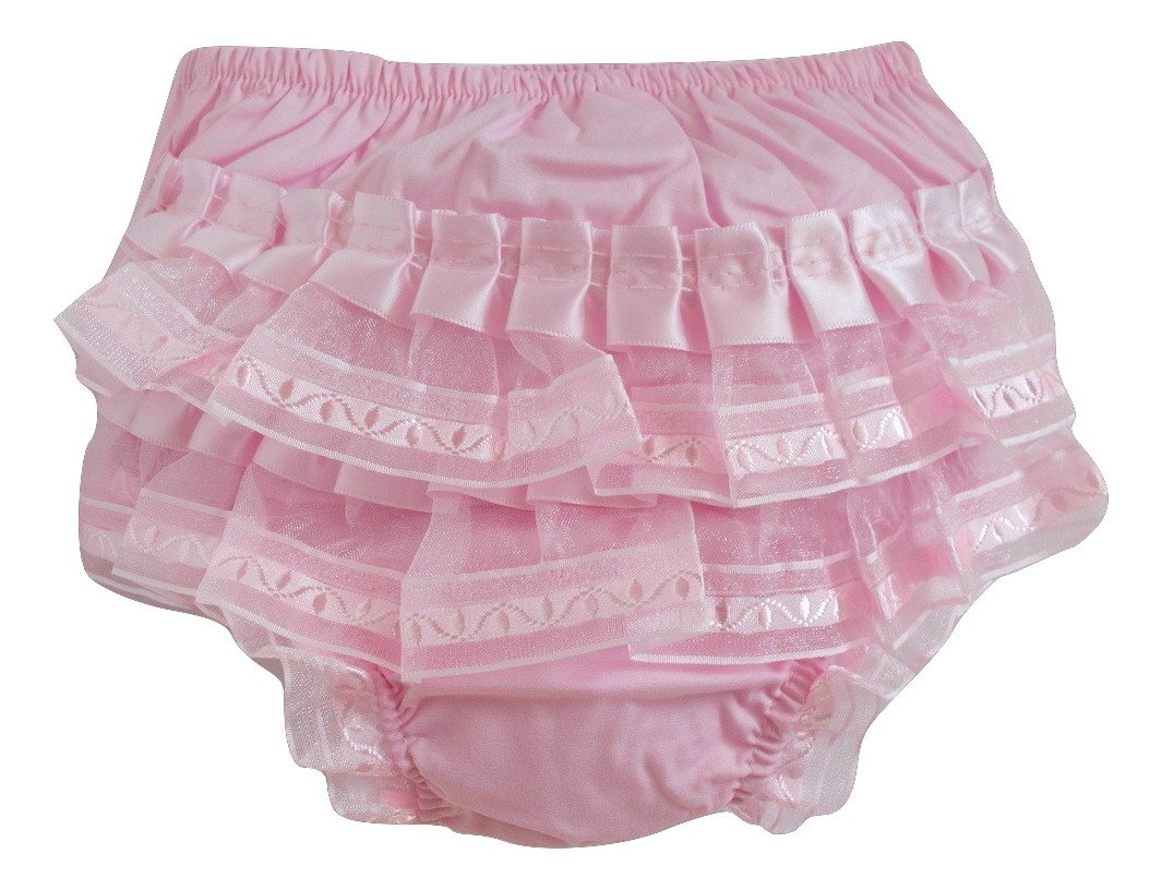 Baby Girls Pink Frilled Knickers Nappy Cover Lace and Ribbons Design (0-6 Months) Soft Touch
