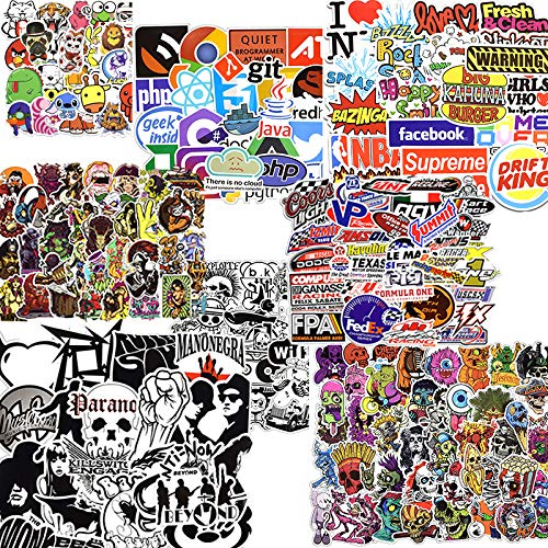 (Multiple Themes 50 Pieces Stickers Waterproof Cool Laptop Sticker for Water Bottle Car Hydro Flask Luggage Bike Cellphone Graffiti Decals (Black&White))