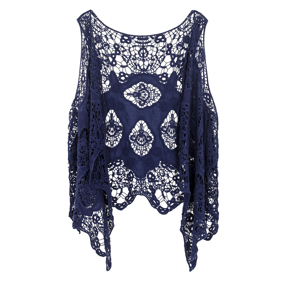 Jastie Open Stitch Cardigan Boho Hippie Butterfly Crochet Vest (Dark Blue)