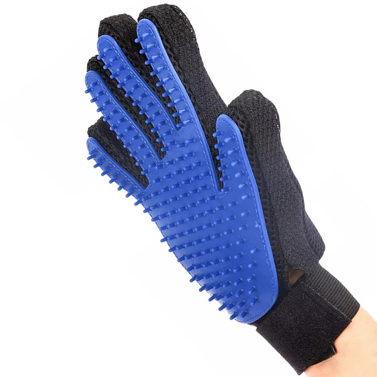 LIANYI Pet Grooming Glove Gentle De-Shedding Brush for Dogs & Cats with Long & Short Fur Hair Removal Mitt Comfortable Massage Tool Dark Blue 1 Pair Your Pet Will Love It HCPET