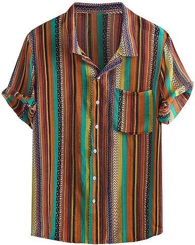 LHWY Camisa de Hombre Blusa De Manga Corta con Estampado De ...
