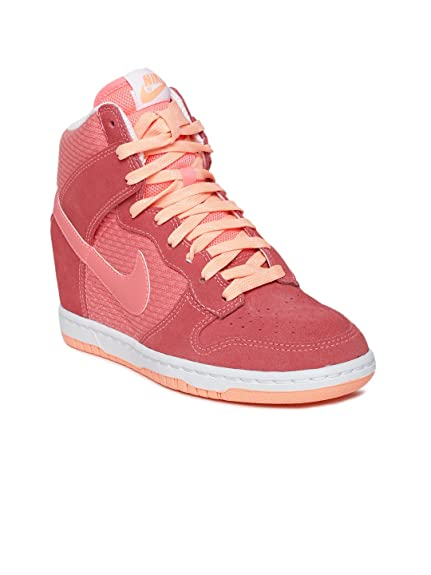 promo code 52900 f0f9a Nike Women Coral Orange Dunk Sky HI Essential Leather Casual Shoes (8)