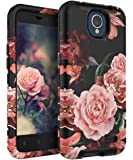 TIANLI ZTE Prestige 2 Case,ZTE Maven 3 Case,ZTE Overture 3 Case,ZTE Prelude Plus Case Cute Flowers for Girls/Women Smooth Surface Three Layer Shockproof Protective Cover,Floral Black