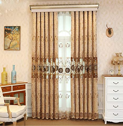 Pureaqu Romantic Room Darkening Curtains For Bedroom Floral Hollowed Embroidered Chenille Semi Blackout Curtains And Draperies For Living Room Luxury Grommet Window Drapes 1 Panel 39 Wx84 L Inch by Pureaqu
