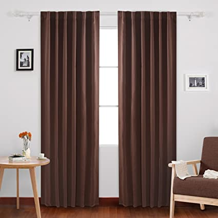 Deconovo Rod Pocket And Back Tab Blackout Curtains Thermal Insulated Window Curtain Panels For Dining
