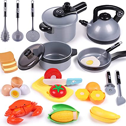 Amazon Com Iplay Ilearn Kids Kitchen Toy Accessories Toddler Cooking Playset Pretend Pots Pans Set Fake Cookware Appliance W Cutting Play Food Utensils Birthday Gift For 3 4 5 Year Old Girl Boy