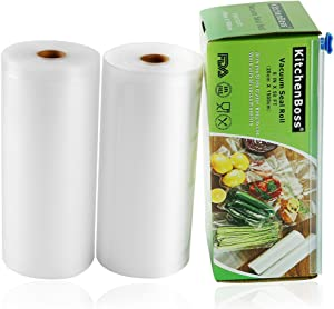 "KitchenBoss Vacuum Sealer Rolls 2 Pack 8""x50' with Cutter Box Commercial Grade Bag Rolls for Food Saver and Sous Vide(total 100 feet)"