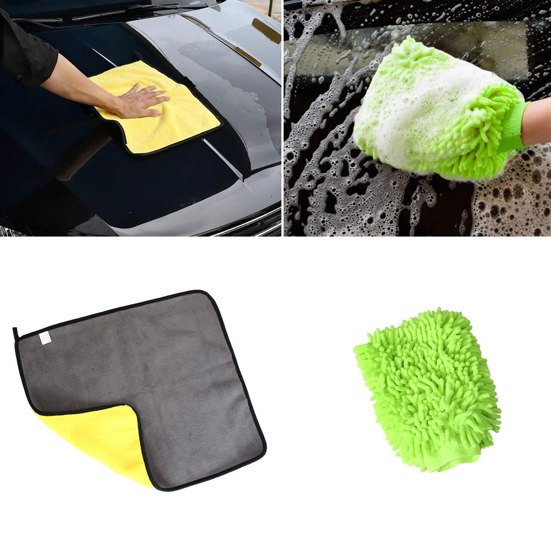 Microfiber Towel Car Towel Set-Premium Professional Soft Microfiber Cars Cleaning Towel Microfiber Cleaning Cloth Lint Free 4045CM 850GSM with Chenille Microfiber Scratch-Free Wash Mitt Set ROLINGER
